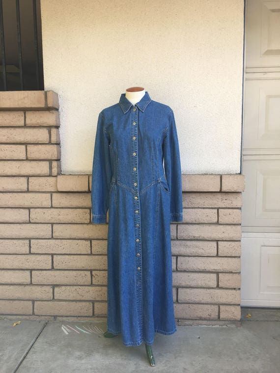 e01e046cca8 Vintage Denim Maxi Dress 80s Stone Washed Long Sleeve Blue