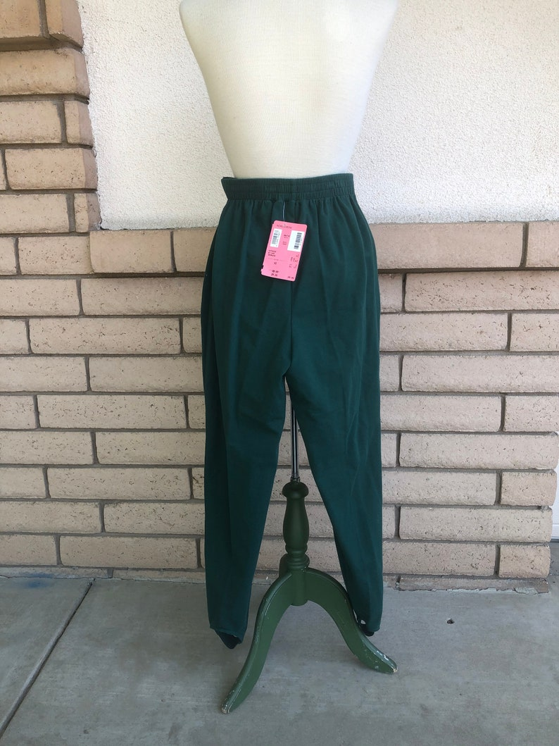 Vintage NOS Evergreen Stirrup Pants Nordstrom High Waisted Green Knit Pants New With Tag Size XS Waist 24-28