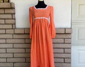 70s Maxi Dress Dotted Swiss Orange Empire Waist w/Daisy trim Size XS