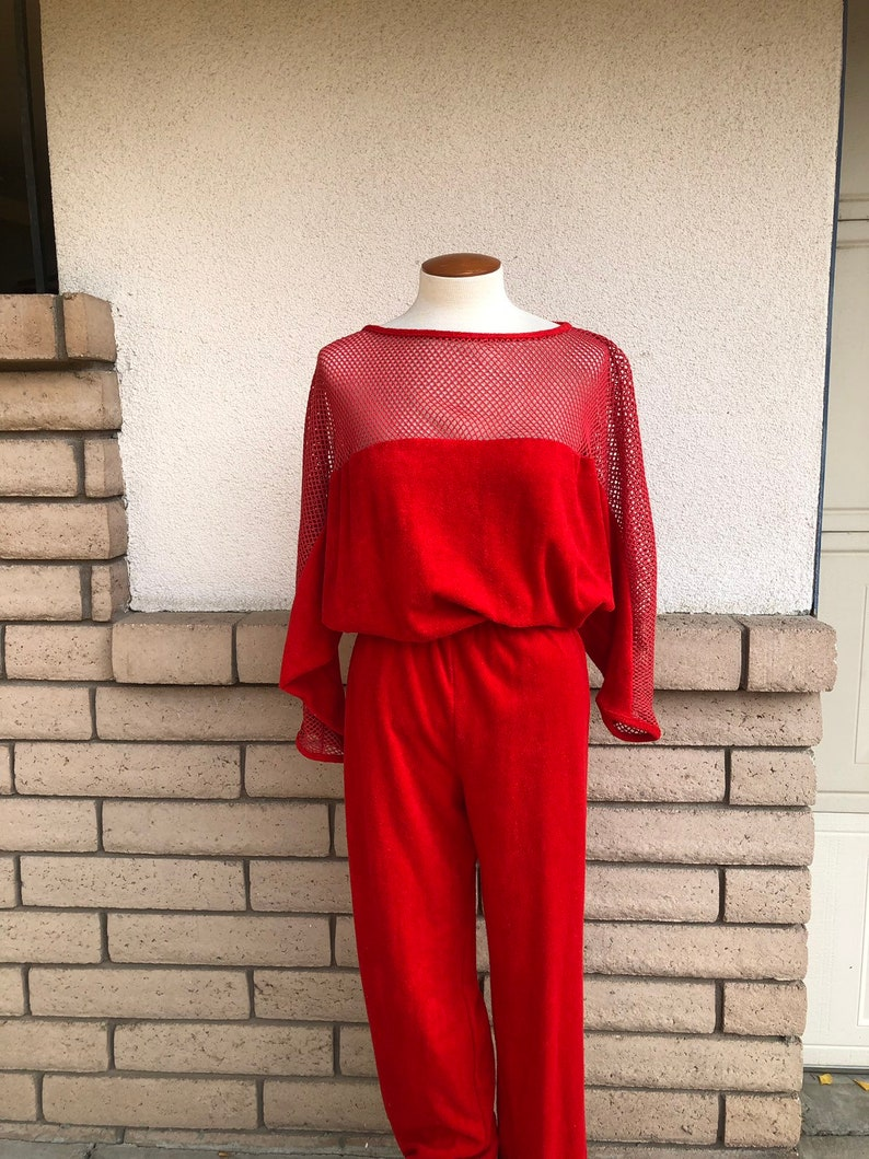 370e75a84811 80s Terry Cloth Jumpsuit Red Mesh Romper Open Weave Dolman
