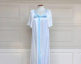 Vintage 70s White Maxi Dress, White Draped Gown, Flippy Sleeve Dress, Maxi Hippie Dress, 70s Wedding Dress Size L