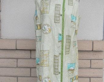 Vintage 70s Hawaiian Dress, Aline Dress, Asian Dress by Hawaiian Casuals Stan Hicks Size Large