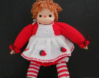 """Vintage Strawberry Shortcake Doll . Crocheted Outfit . Extra Large 25"""" Tall . Unused"""