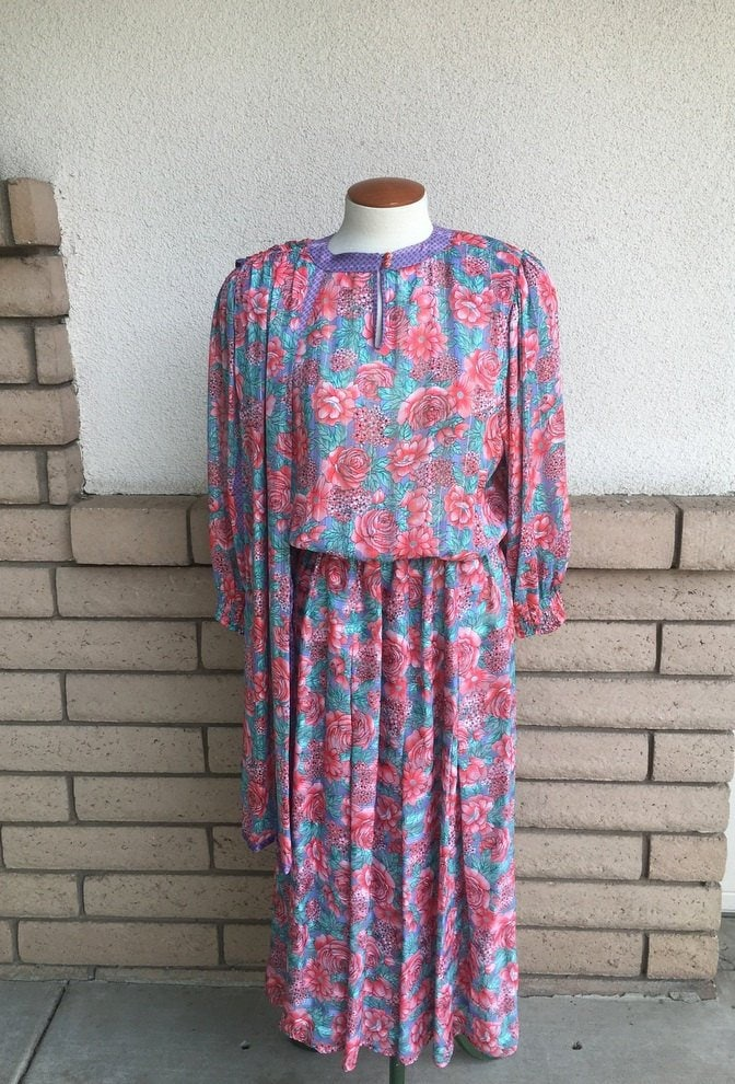 80s Dresses | Casual to Party Dresses 80S Diane Freis Dress Pink Floral Print With Attached Scarf Size Large Tall $58.00 AT vintagedancer.com