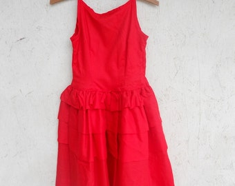 vintage 50's red fit and flare dress w/crinoline, jr. bridesmaid dress, Junior Hi-Set by Johnston XXS, XS