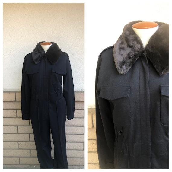 Vintage Black Knit Jumpsuit with Removable Fake Fu
