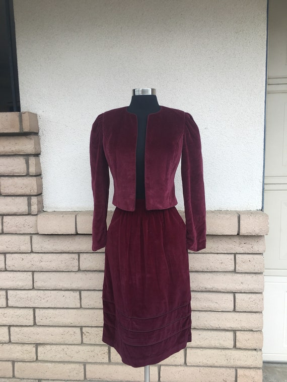 Vintage 70s Cranberry Red Velvet Skirt Suit Puff S