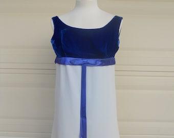60s Blue Velvet Mini Dress . 1960's Baby Doll Go Go Party Dress . XS