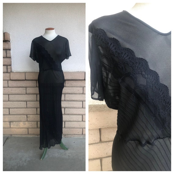 90s Black Sheer Silk Maxi Dress with Lace Vintage