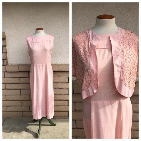 Vintage 50s Dusty Pink Dress + Lace Bolero Jacket… - image 1