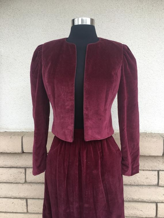 Vintage 70s Cranberry Red Velvet Skirt Suit Puff … - image 2