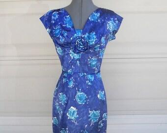 Vintage Blue Floral Dress . Blue Turquoise Party Dress . Bridesmaid Dress  XS  24 waist