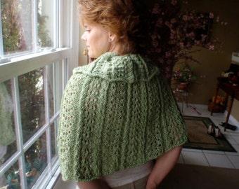 Knit green shawl