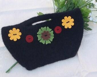 Black Flower Power Clutch
