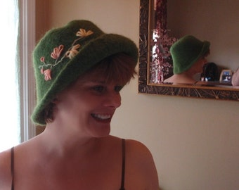 Spring Green felted hat with embroidered flowers