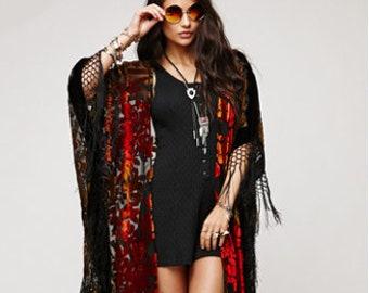 SALE 20% OFF // Floral Brocade Velvet Burnout Gypsy Fringe Kimono