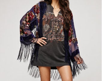 SALE 20% OFF // Navy Floral Velvet Burnout Gypsy Fringe Beaded Kimono Jacket