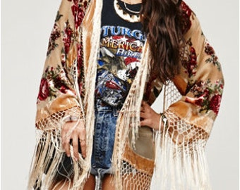 SALE 20% OFF // Champagne Floral Velvet Burnout Gypsy Fringe Beaded Kimono Jacket