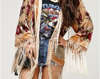 9060e84a1 SALE 20% OFF // Champagne Floral Velvet Burnout Gypsy Fringe Beaded Kimono  Jacket
