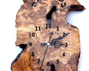 Wedding gift, Israeli Handmade, Olive wood wall clock, Judaica, Israeli שעה טובה  Good Luke souvenir C77