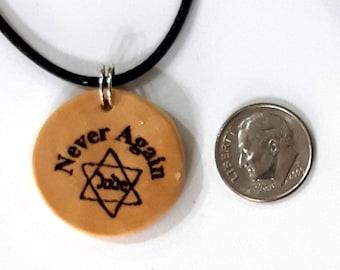 Never Again Shoah, I was born in Cyprus Israeli Olive wood art memorized pendant the Holocaust engraved, Judaica Israel P205