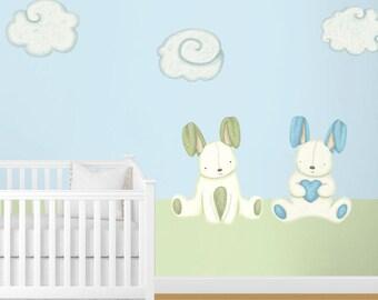 Babykamer Behang Sterren : Baby konijntje behang etsy