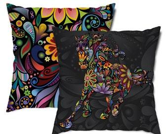 Wild Horse Floral Throw Pillow