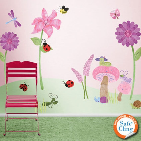 bugs and blossoms flower garden wall decals for girls room &   etsy
