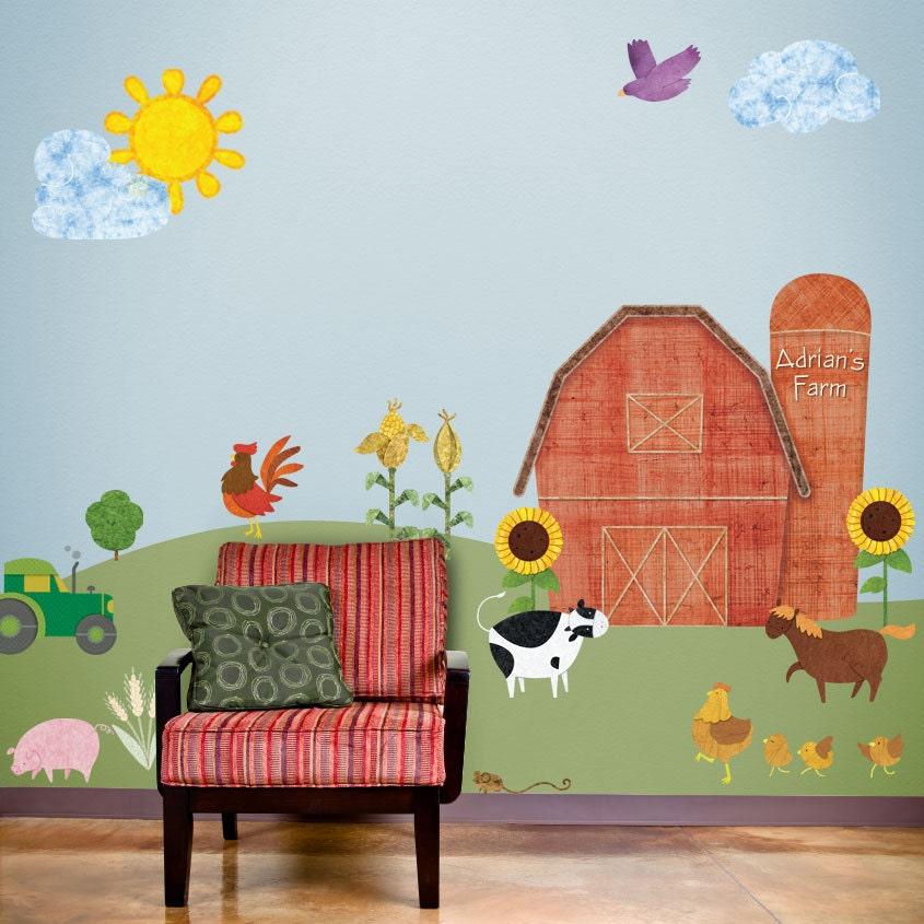 Kids Room Wall Decals Farm Wall Decals Farm Animal Decals: Farm Wall Stickers Decals For Kids Room & Nursery JUMBO
