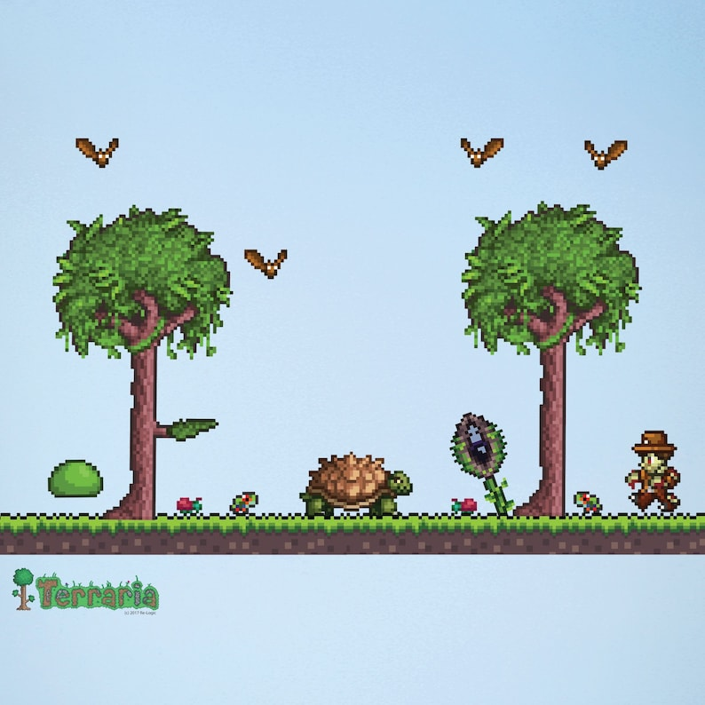 Terraria Jungle Biome Add On Wall Decal Set Terraria Video Etsy