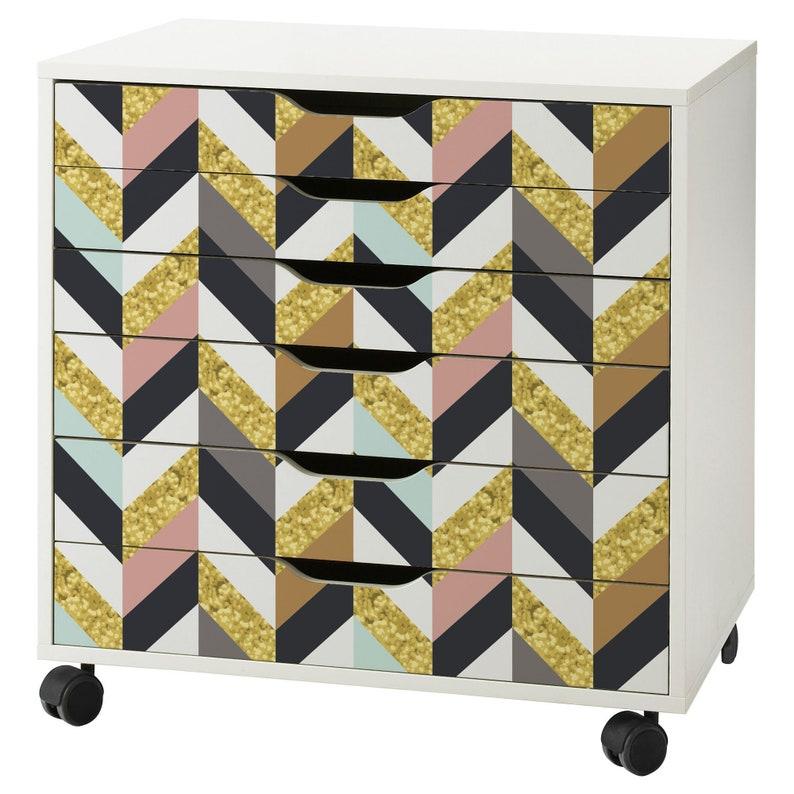Herringbone Pattern Decal Set for IKEA Alex Drawer Unit