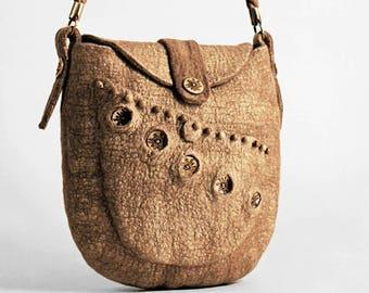"Felted Bag ""Golden"" (boho eco felted handbags buy)"