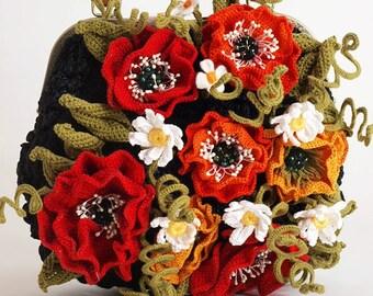 "Crocheted Bag Hobo Bag Boho Bag Handmade Bag ""Poppy"" crocheted bags hobo bags boho bags handmade bags buy"
