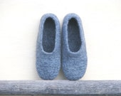 Men's gray felted slippers. Eco friendly.  Made to order.
