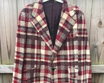 6251b8293ac Mens Vintage 70s JcPenney Plaid Velour Jacket   70s Plaid Jacket by JcPenney