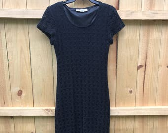 Vintage 90s Long Black Sheath Dress / 90s Christy Lyn Long Black Form Fit Dress