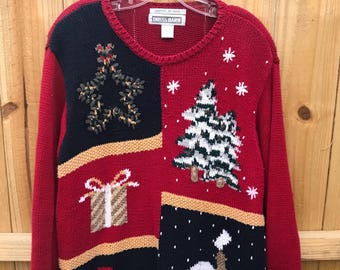 Vintage Christmas Ugly Sweater by Dressbarn Size Large