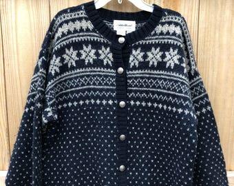 Vintage Woman's Eddie Bauer Wool Blend Cardigan Sweater / Wool Fair Isle Birds Eye Cardigan Sweater Size Small
