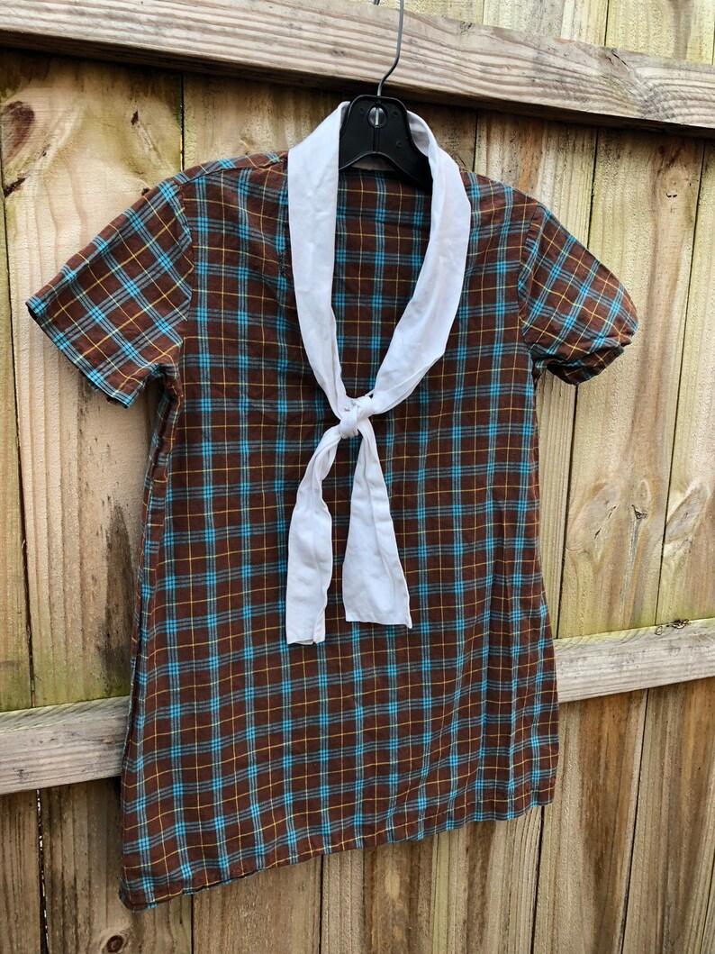 Girl/'s Vintage Mod Plaid Mini Dress with Necktie