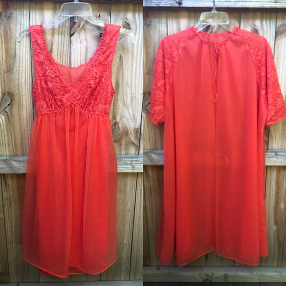 Vintage Gorgeous Orange Red Lace Nylon Chiffon Nig