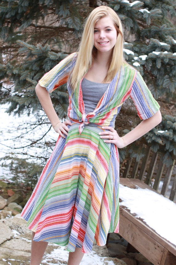 Vintage 80s Rainbow Striped ladies 2 piece Shirt a