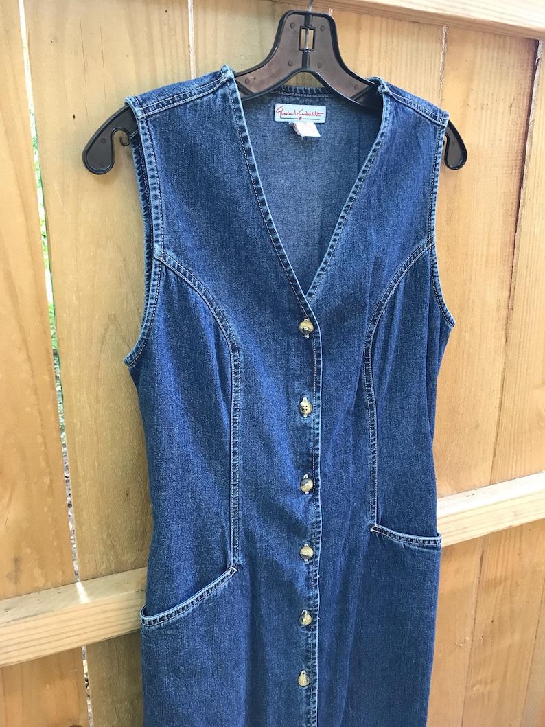 Vintage 90s Long Sleeveless Denim Dress by Gloria Vanderbilt  Size Small Minimalist Long Denim Dress