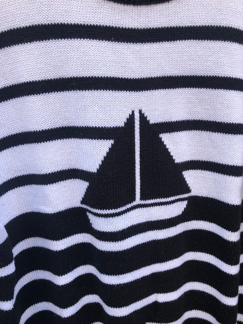 Vintage 80s Nautical Striped Sweater by Idioms Size Medium