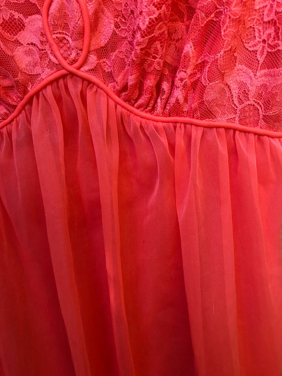 32 and Vintage Orange Nylon Peignoir Nighty Size Chiffon Fair Sexy Red and con Little Gorgeous Vanity Robe Lace Sheer Set Wedding Nighty SPBxwSfA
