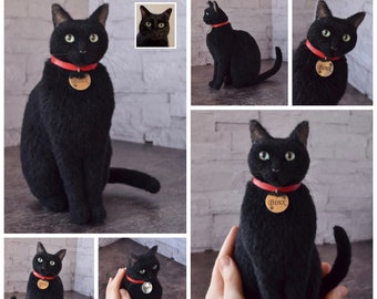 Needle Felted Black Сat Sculpture Memory Portrait replica of your cat Petlover Wool Felt Kitten art toys Personalized gift for cat lovers