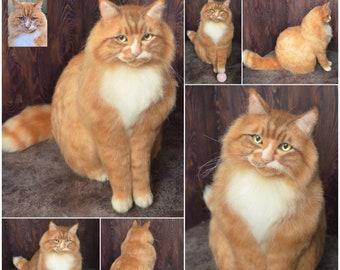 Felted Cat Life sized Sculpture Long haired orange cat Memory Pet Portrait Your Pet replica Maine coon stuffed cat Wool Felt Animal