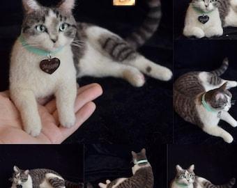 Needle Felted Tabby Cat Sculpture Memory Pet Portrait Petlover Wool Felt Kitty Kitten wool art toys Personalized gift catlover