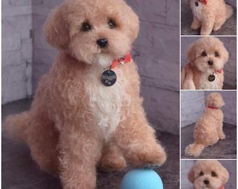 Goldendoodle Artist Needle Felted Dog Sculpture Memory pet Portrait Sculpture Petlover dog wool Personalized gift dog lovers