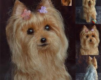 Yorkie Custom Needle Felted Dog Sculpture Pet replica Yorkshire Terrier dog Memory Pet Portrait Wool figurine Wool art toys Wool animal
