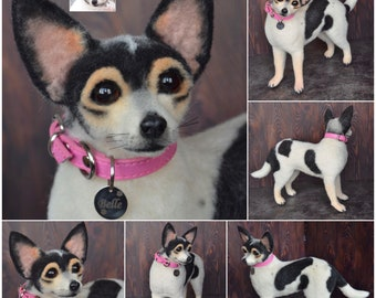 Custom Chihuahua Artist Needle Felted Dog Sculpture Memory pet Portrait Sculpture of your pet Dog replica Wool art toys